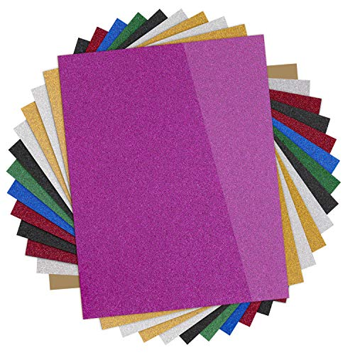 "Glitter Heat Transfer Vinyl HTV - 13 Pack 12""x10"" Iron On Vinyl for Cricut & Silhouette Cameo (Teflon Sheet Included), 9 Assorted Colors HTV Glitter Bundle of Heat Press Vinyl, Easy to Cut & Press"