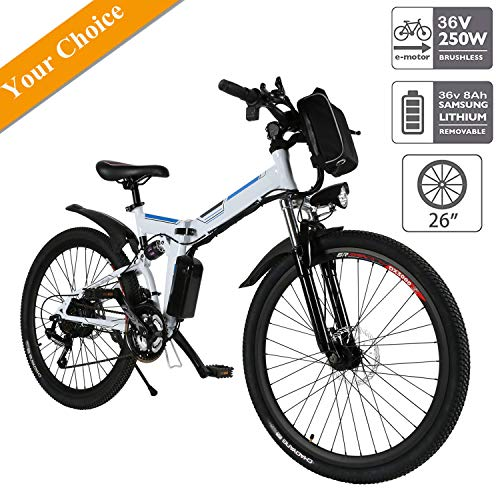 Aceshin 26'' Folding Electric Mountain Bike with Removable Large Capacity Lithium-Ion Battery (36V 250W), Electric Bike 21 Speed Gear and Three Working Modes (White)