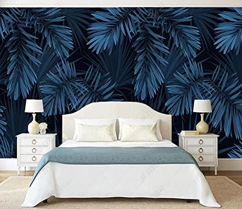 Murales de Pared Papel Pintado Hojas De Plantas Tropicales Azul Oscuro Fotomurales Dormitorio Sala de Estar Sofá Fondo de Pantalla Decoración de la Pared Murales,430x300cm