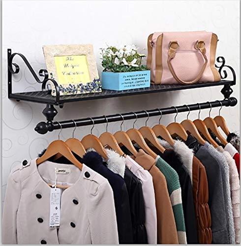 Panet Portemanteau en Fer forgé créatif Cintre Suspendu étagère Murale Simple étagère Murale Noir (Taille : 60 * 28cm)