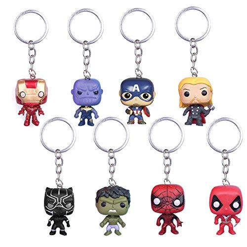 YUIP 8 Pcs Marvel Super héros Porte-clés Super héros The Avengers Deadpool Pendentif Porte-clés Noir Panthère Porte-clés Thanos Porte-clés