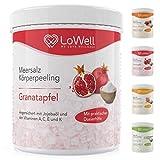 LoWell® - Peeling Meersalz mit Jojobaöl + BONUS Dosierhilfe + Peeling-Guide – Natürliches Körperpeeling Scrub – Ideal für die Dusche, Dampfbad und Sauna - Body Salz - Granatapfel 500g