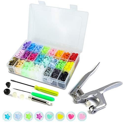 Qfun Snaps Druckknöpfe 408 Set T5 Druckknöpfe mit Zange in 24 Farben Kam Snaps Starterset für DIY Basteln