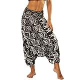 Nuofengkudu Mujer Pantalones Sueltos Hippi Tailandeses Estampado Verano Cintura Alta Elastica Entrepierna Baja para Yoga Casual Negro Elefante