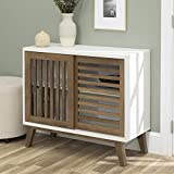 Walker Edison Furniture TV Stand, 36', White/Rustic Oak