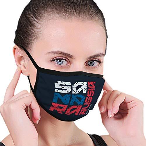 Atmungsaktive Premium Gesichtsschutzhülle,Samara Russland Gestylte Kleidung Typografie Druckplakat Frauen Männer Anti Wind Staubschutz Schutzhülle Für Skifahren Camping Reisesicherheit, Täglicher Ge