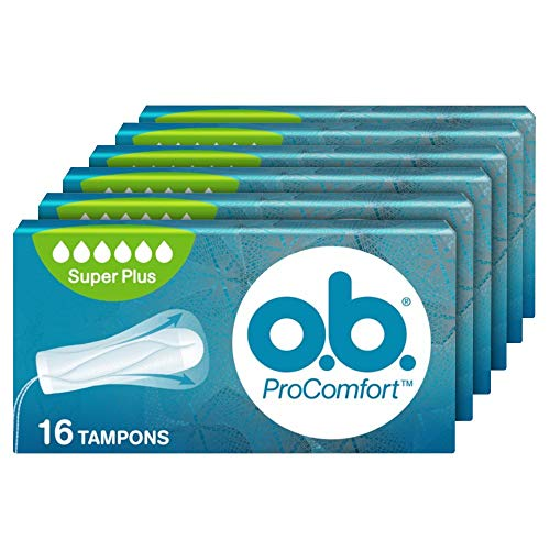 o.b, Assorbenti Interni, ProComfort Super Plus, Flusso Molto Intenso, Inserimento e Rimozione Facile, 6 Confezioni da 16pz