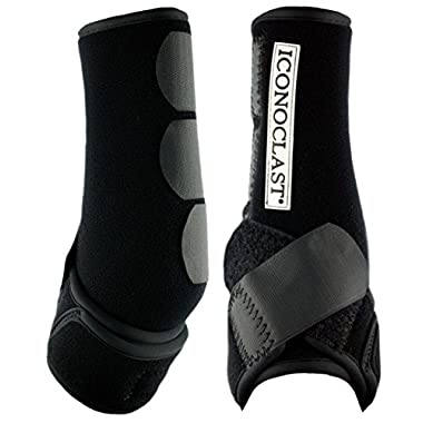 Iconoclast Orthopedic Support Boots - 1 Pair for Hind Legs (Black, Large)