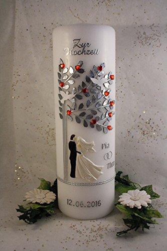 Hochzeitskerze mit Namen & Datum H85 rote Herzen