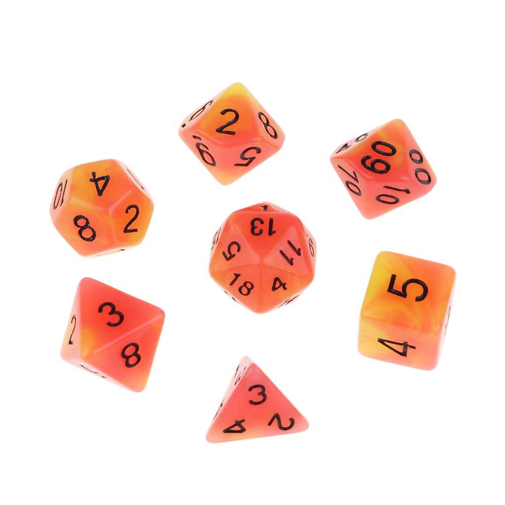 non-brand Set de Dados Poliédricos de 7 Piezas para Juego de Mesa RPG - Rojo Amarillo: Amazon.es: Juguetes y juegos