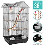 Best Choice Products 36in Indoor/Outdoor Iron Bird Cage for Parrot, Lovebird w/Removable Tray, 4 Feeders, 2 Toys