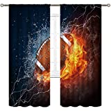 Cinbloo American Football Curtains Rod Pocket Fire Water Sports Flame Splashing Thunder Lightning Cool Boys Art Printed Living Room Bedroom Window Drapes Treatment Fabric 2 Panels 52(W) X 84(L) Inch