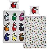 SkyBrands Among Us Ropa de cama de 135 x 200, 80 x 80, funda de almohada de algodón, diseño reversible, juego de cama para adolescentes y jóvenes, tamaño alemán