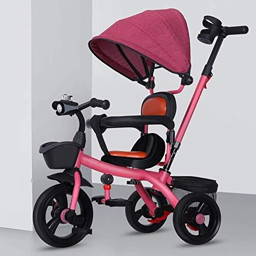 Triciclo de bebé Cochecito para niños pequeños, Bicicleta Cochecito de bebé Cochecito de bebé Cochecito de música Bicicleta Confort Asiento Valla de seguridad Toldo Regalos de cumpleaños para niños (C