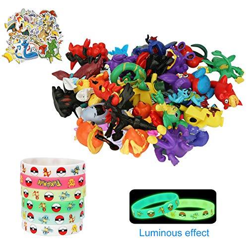 Herefun 25 Stück Pokemon Spielzeug Set, Pokémon Actionfiguren Minifiguren Spielzeug, 12 Stück Fluoreszenz Armband Pikachu Monster Spielfiguren Spielzeug für Kinder Tiere zum Sammeln