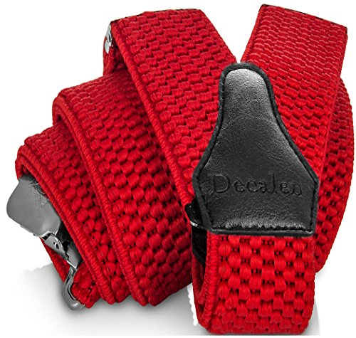 Decalen Mens Suspenders with Very Strong Clips Heavy Duty One Size Fits All Big and Tall Wide Adjustable and Elastic Braces Y Back Shape (Red)