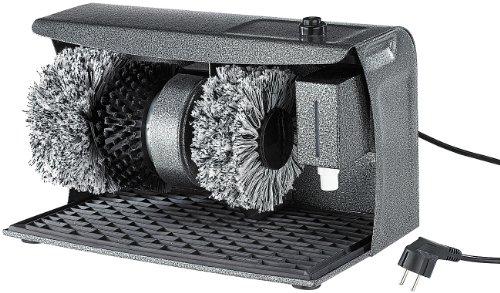 Sichler Haushaltsgeräte Schuhputzmaschine: PROFI Schuhputz-Maschine, Hammerlack, 3 Bürsten, Schuhcreme-Spender (Schuhputzautomat)