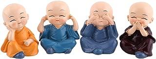 Thur amo 4 Monks Buddha Figurine, Wise Monks Statue Hear No Evil See No Evil Speak No Evil Statue Wealth Lucky Figurine Happy Face Buddha Car Interior Decor Desk Ornament Shelf Display