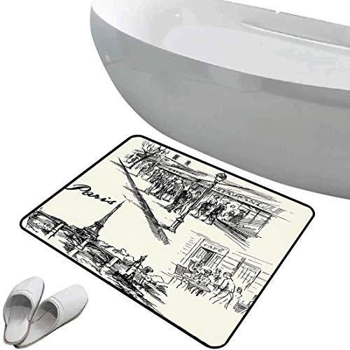 Tapis de salle de bain antidérapant Décor Tour Eiffel bain doux Paris Sketch Style Cafe Restaurant Monument Historique Canal Bateau Lampadaire Rétro Art Print,Noir Blanc Pour douche paillasson chambre