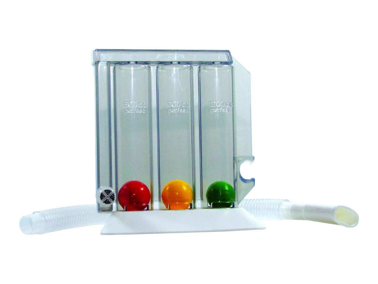 GIMA ref 33442 Entrenador respiratorio Respirogram, dispositivo para ejercer la respiración por inhalación con base, 3 bolas diferentes, una parte central transparente tripartida, tubo y boquilla