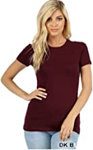 Zenana Outfitters Women's Long Basic Cap Sleeve Crew Neck T-Shirt