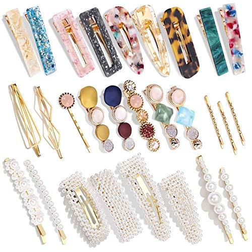Migimi 28 Stücke Perle Haarspangen Perle Haarnadeln, Bonbonfarben Perlen Haarspangen Perlen Haarklammern, Haarnadeln Haarnadel Aus Metall Haar Acrylharzspangen, Party Headwear Styling Werkzeuge