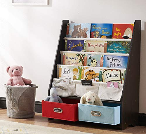 SEIRIONE Kids Bookshelf, 4 Sling Book Display Stand, 2 Cube Bins for Toy Storage Organizer, Espresso/Black, 27.6x11x34 Inches