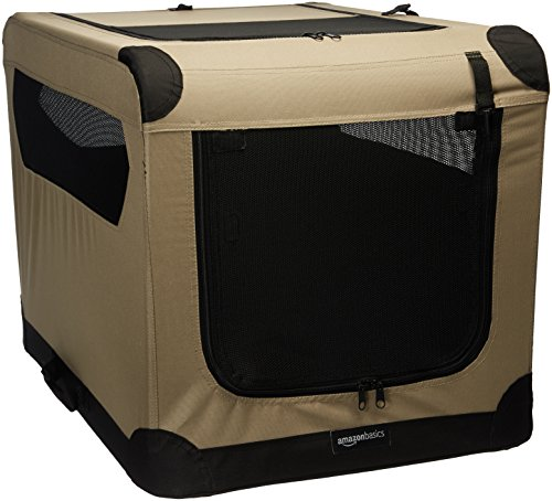 AmazonBasics Portable Folding Soft Dog Travel Crate Kennel, Medium (21 x 21 x 30 Inches), Tan