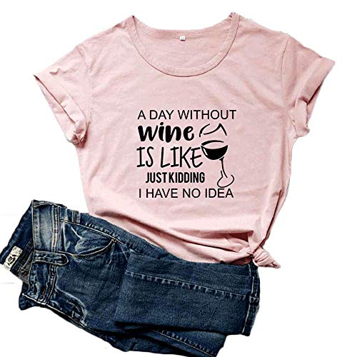 Mikialong A Day Without Wine Shirt - Camiseta de manga corta para mujer, de algodón