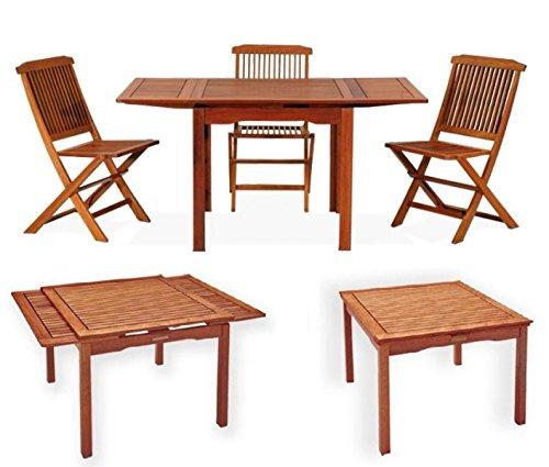 Mesa cuadrada extensible, de madera natural 80 x 80 x 77 cm, mod ...