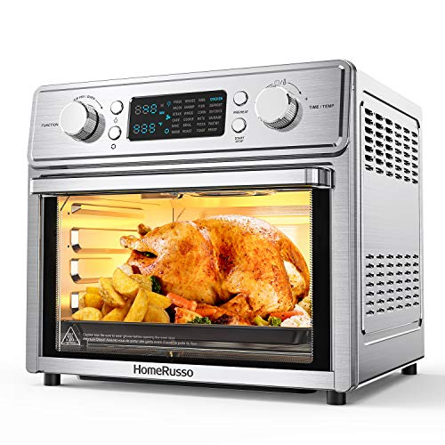 HomeRusso 24-in-1 Air Fryer Oven, 26.3 Quart Large Convection Toaster Oven Countertop Stainless Steel with Rotisserie and Food Dehydrator, 10 Accessories and Recipe Included