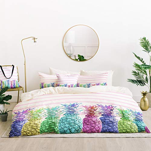 Read About Pineapple Duvet Cover Set Twin XL Size - Pink, White, Multi, Colorful Fruits Stripes Prin...