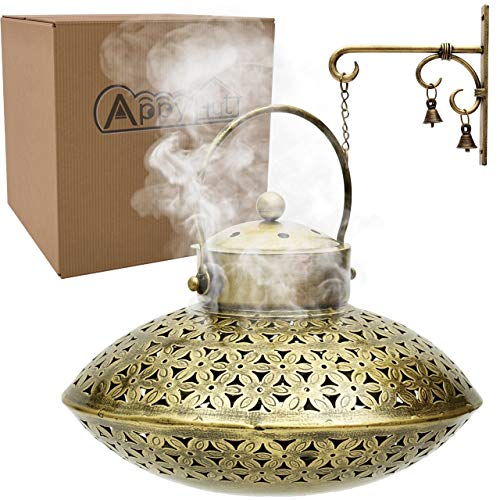 "AppyHut Cone Incense Burner Hanging Incense Holder,Brass Antique Home Room Wall Decor Spiritual Aromatherapy Reiki Yoga Meditation Gifts for Women Men,Zen Hippie Bohemian Boho Decor-Burner(9x8)"""