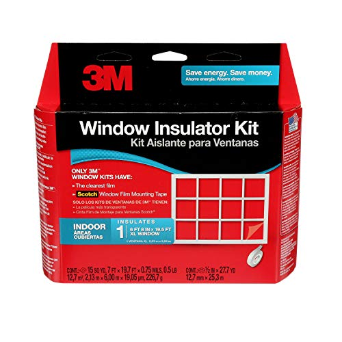 3M Indoor 1-Window Insulation Kit, Clear Window Film for Heat and Cold, 7 ft. x 19.7 ft of film, Covers One XL 6 ft 8 in x 19.5 ft Window