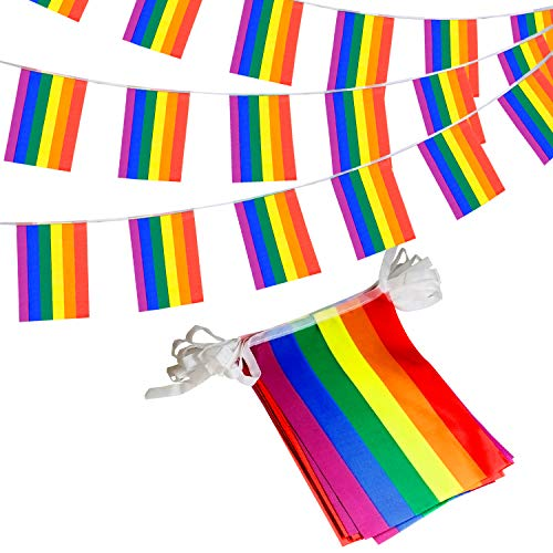 Anley Rainbow Flag LGBT Pride String Flag - Banners for Human Rights, Gay Lesbian Pride, Bars Decoration - 33 Feet 32 Flags