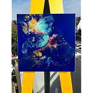 Acryl Pouring I 30 x 30 x 3,5 cm I original handgemaltes Einzelstück I blau gold türkis weiß rot I Leinwand auf…