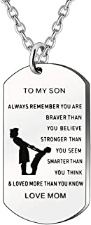 JJIA Inspirational Gifts for Son, to My Son Necklace from Dad Mom Christmas Birthday Gifts