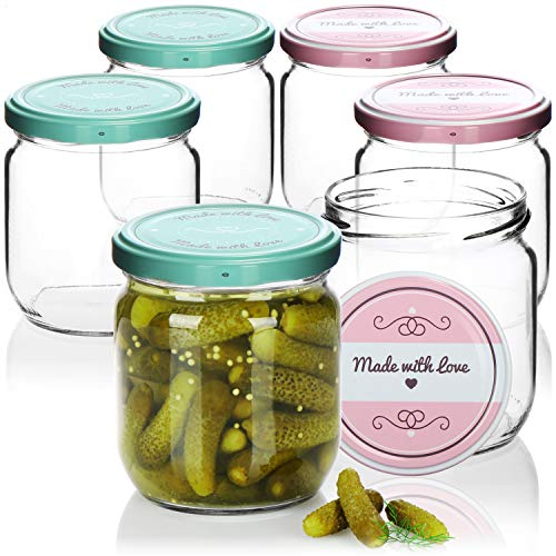 "com-four® 6x Vasetti di Vetro per Conserve con Coperchio a Vite""Made with love"" in Verde e Rosa - TO Ø 82 mm - 330 ml"