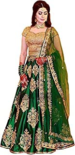 Suppar Sleave Women's Green Taffeta silk Lehenga Choli (SS_Perot_241)
