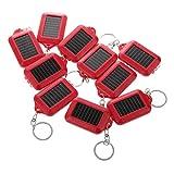 Gaoominy 10X di energia Solare Ricaricabile 3LED Portachiavi Torcia elettrica della Torcia della Luce ' Nuovo - Rosso
