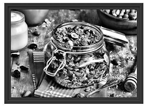 Picati honing muesli in glas in schaduwvoegen fotolijst | kunstdruk op hoogwaardig galeriekarton | hoogwaardige canvasfoto alternatief 55x40