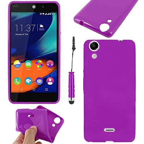 ebestStar - Coque Compatible avec Wiko Rainbow Lite 4G Etui Housse Silicone Gel TPU Souple Anti-Choc + Mini Stylet, Violet [Appareil: 143 x 71.2 x 9mm, 5.0'']