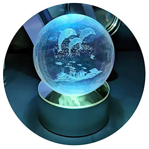 Luz nocturna LED, regalo de Navidad para niños, idea de regalo para cumpleaños, bola de cristal 3D con base de decoloración, regalo personalizado para niños y niñas, juego de cajas de regalo (delfin)