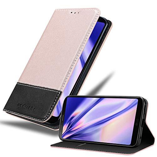 Cadorabo Hülle für LG G6 in ROSÉ Gold SCHWARZ – Handyhülle mit Magnetverschluss, Standfunktion und Kartenfach – Case Cover Schutzhülle Etui Tasche Book Klapp Style