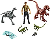 Jurassic World Fallen Kingdom Velociraptor, Owen, 2 Compsognathus and Gallimimus Action Figure 3-Pack