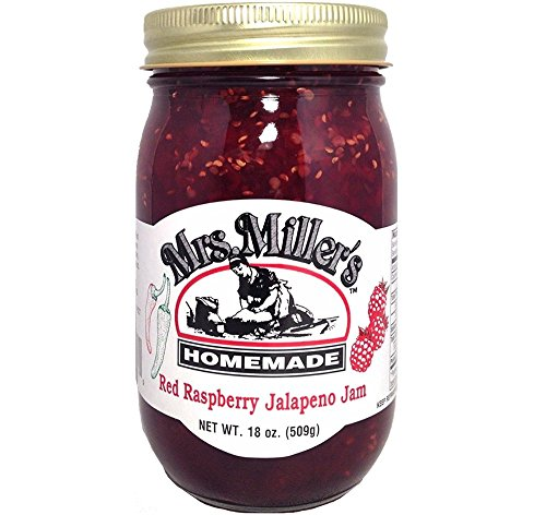 HUGE 18 Oz. Mrs. Miller's AMISH MADE Red Raspberry Jalapeño Jam