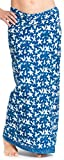ufash Damen Sarong Lungi Pareo Rock aus Indien, traditionell handbedruckt, Unisex für Männer und Frauen. Boho Gipsy & Hippie Röcke, Indigo 11