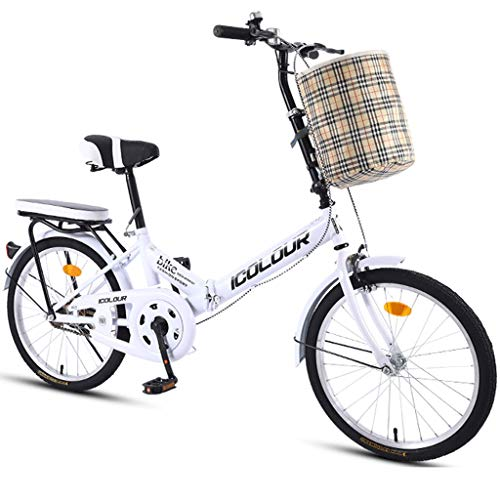 JYXJJKK bicicletas de montaña Bicicleta plegable de una sola velocidad Hombre Mujer Estudiante de educación superior de la ciudad de cercanías bicicletas deporte al aire libre con la cesta de mini bic