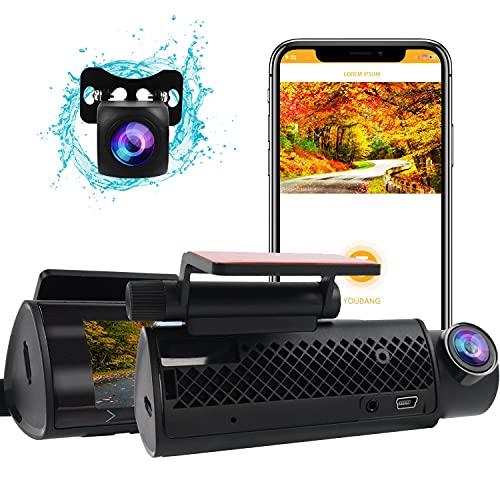 Dual Dash Cam WiFi 4K, MHCABSR Ultra HD 2160P Car Dash Cam anteriore e posteriore WiFi integrato con APP, visione notturna, WDR, registrazione in loop, grandangolo 170°, G-Sensor