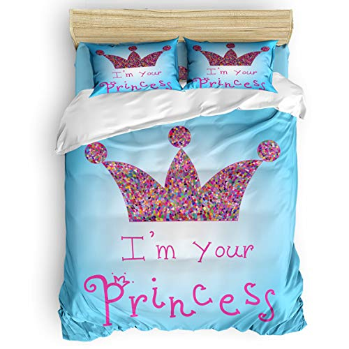4 Pieces Luxury Soft Microfiber Bedding Sets, I am a Princess Comfortable Breathable with Zipper Closure Machine Washable Queen Size, Romantic Quote Couples in Love Colorful Mosaic Crown Tiara
